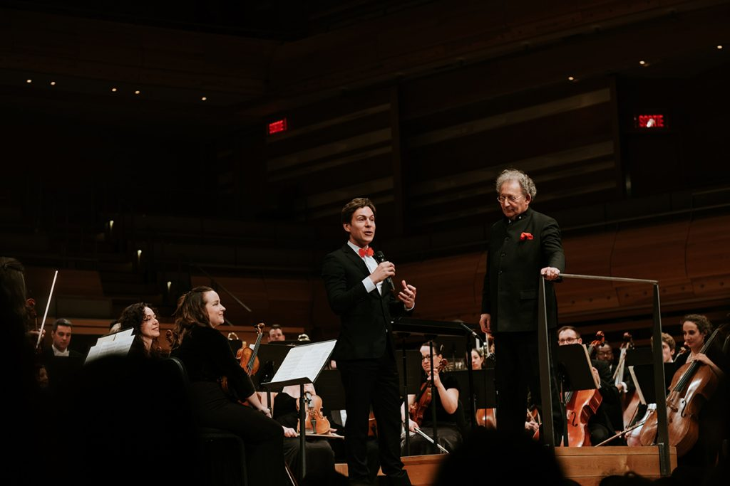 Maxime Goulet with maestro Boris Brott, for the performance of United Anthems, by the McGill Chamber Orchestra, at the Maison Symphonique, in Montreal, in 2017. Photo by Nadia Zheng