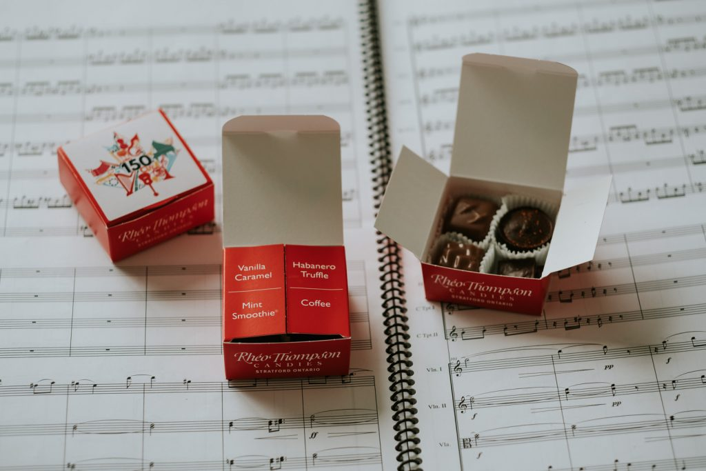 Chocolates by Rhéo Thompson Candies, for the tasting concert of Symphonic Chocolates, by the National Academy Orchestra of Canada and maestro Boris Brott, during the Brott Music Festival and the Toronto Summer Music Festival, in Toronto, in 2017. Photo by Nadia Zheng