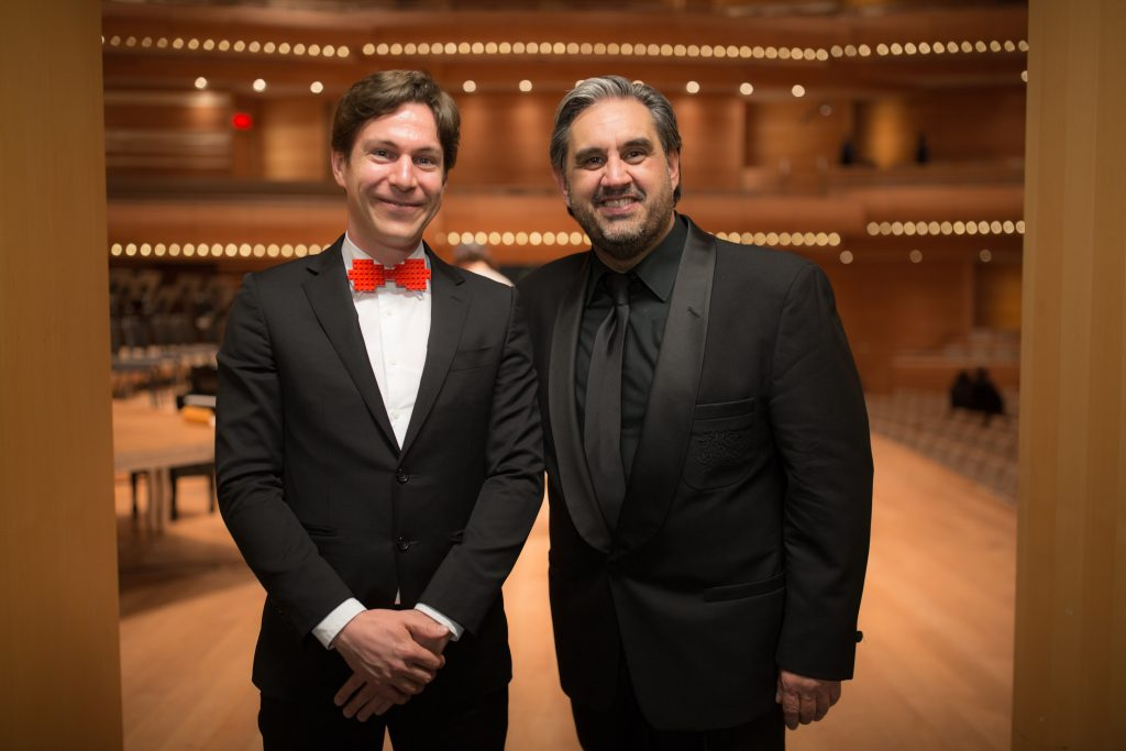 Maxime Goulet with signer Marc Hervieux, during a concert with the McGill Chamber Orchestra, at Maison symphonique, in Montreal, in 2017. Photo by Brent Calis