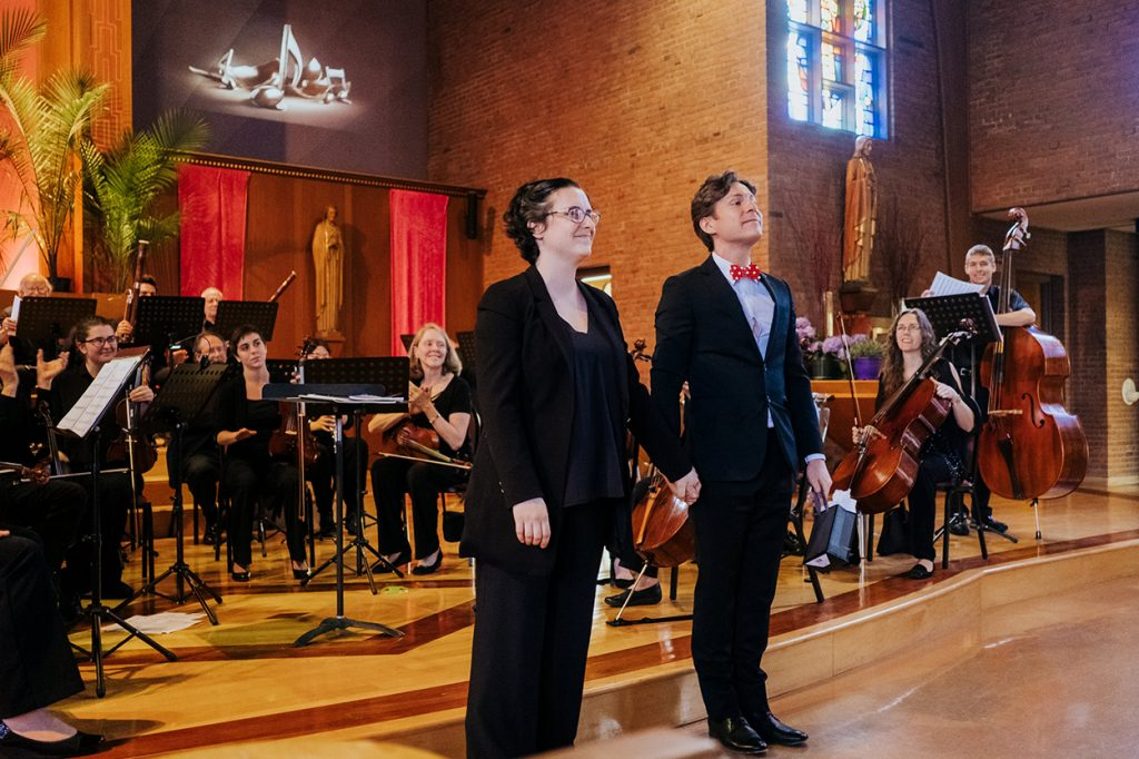 Maxime Goulet with the Parkway Concert Orchestra and conductor Geneviève Leclair, for the tasting concert of Symphonic Chocolates, in Massachusetts, in 2018. Photo by Nadia Zheng