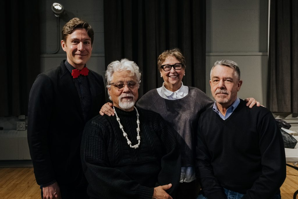 Maxime Goulet with librettists Michael Nicoll Yahgulanass and Barry Gilson and stage director Glynis Leyshon during the workshop of their opera Flight of The Hummingbird with the Vancouver Opera and the Pacific Opera Victoria, in Victoria, in 2018. Photo by Nadia Zheng