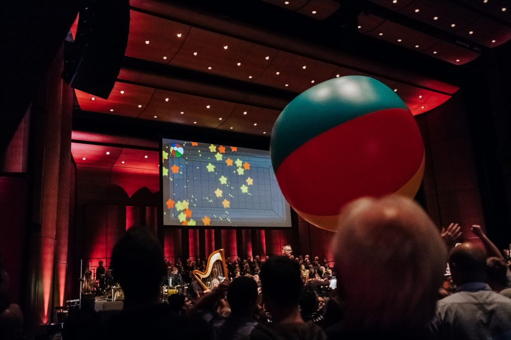 Performance of Beach Ball Games for Orchestra, by the Orchestre symphonique de Québec and conductor Dina Gilbert, on Nov. 22 and 23, 2018, at the Grand Théâtre. Photo by Nadia Zheng