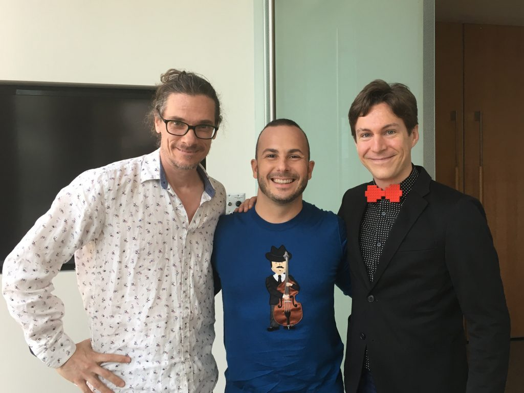 Maxime Goulet with maestro Yannick Nézet-Séguin and composer/arranger Benoit Groulx, at Maison symphonique de Montreal, for a promotional shooting for the Orchestre Métropolitain. Photo by Laurie-Anne Riendeau, 2017