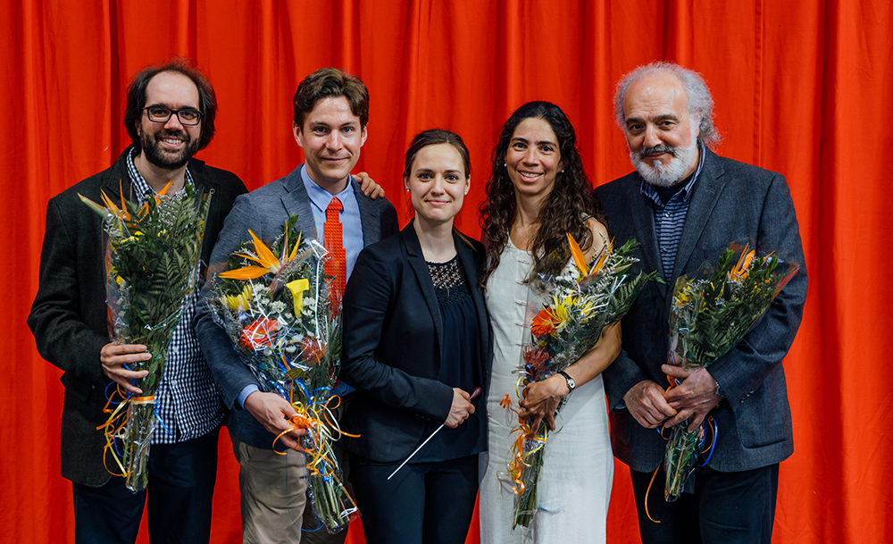 Maxime Goulet with maestro Dina Gilbert and composers Maxime McKinley, Alejandra Odgers and John Rea, for the premiere of Symphonic Factory (2nd mouvement of La Symphonie d'Hochelaga), by the Orchestre Métropolitain, in Montreal. Photo by François Goupil, 2017.