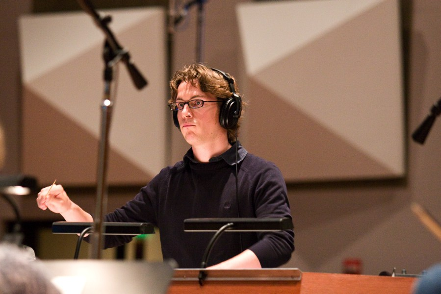 Maxime Goulet recording with the Hollywood Studio Symphony, during the ASCAP Film Scoring Workshop, at the Warner Bros. studio, in Los Angeles, in 2009.