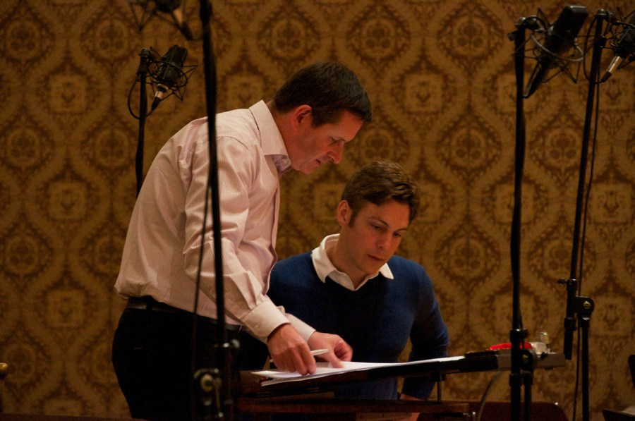 Maxime Goulet with conductor Adam Klemens, during the recording of Symphonic Chocolates with the FILMharmonic Orchestra, at the Dvorak Hall, in Prague, in 2013. Photo: Chih-Ying Wong