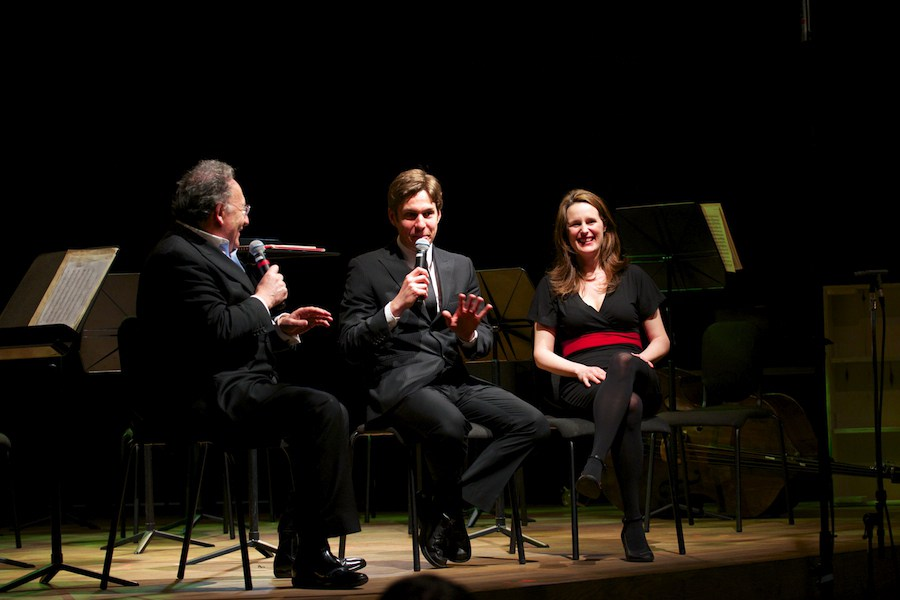 Maxime Goulet with Boris Brott and the chocolatier Geneviève Grandbois, before the tasting concert of Symphonic Chocolates, by the McGill Chamber Orchestra, at the Bourgie Hall, in Montreal, in 2014. Photo: Annette B. Woloshen