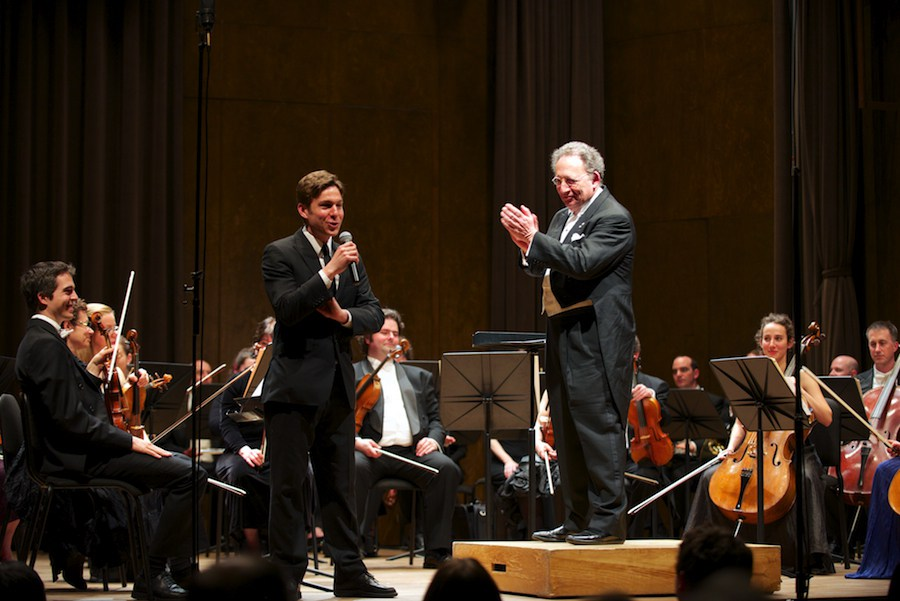 Maxime Goulet with Boris Brott and the McGill Chamber Orchestra, during the tasting concert of Symphonic Chocolates, at the Bourgie Hall, in Montreal, in 2014. Photo: Annette B. Woloshen