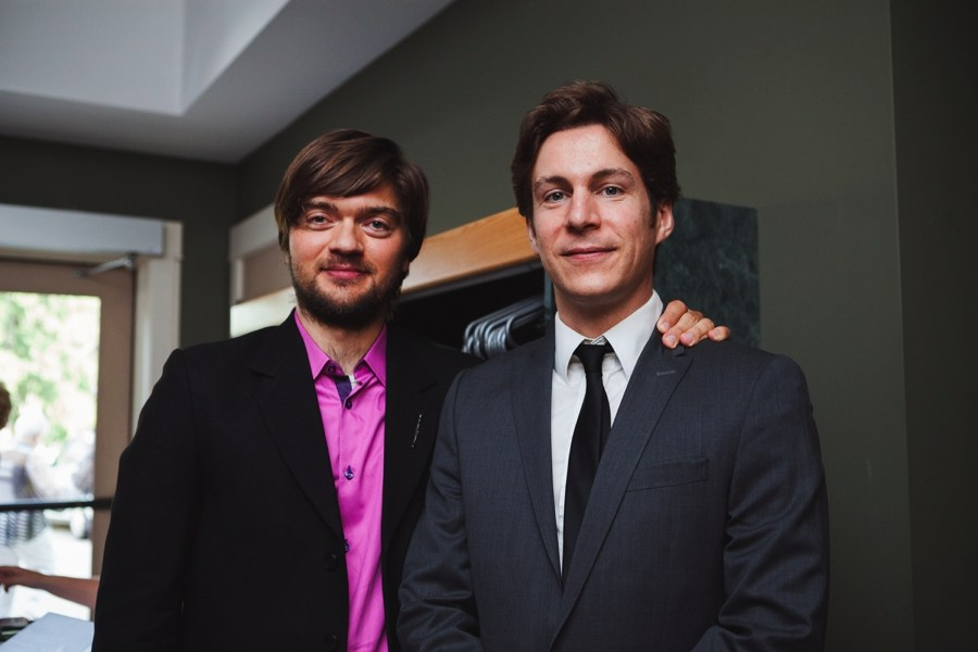 Maxime Goulet and Kornel Wolak, after the performance of Fishing Story by Boris Brott and the National Academy Orchestra of Canada, during the Brott Music Festival, in Hamilton, in 2014. Photo: Nadia Zheng