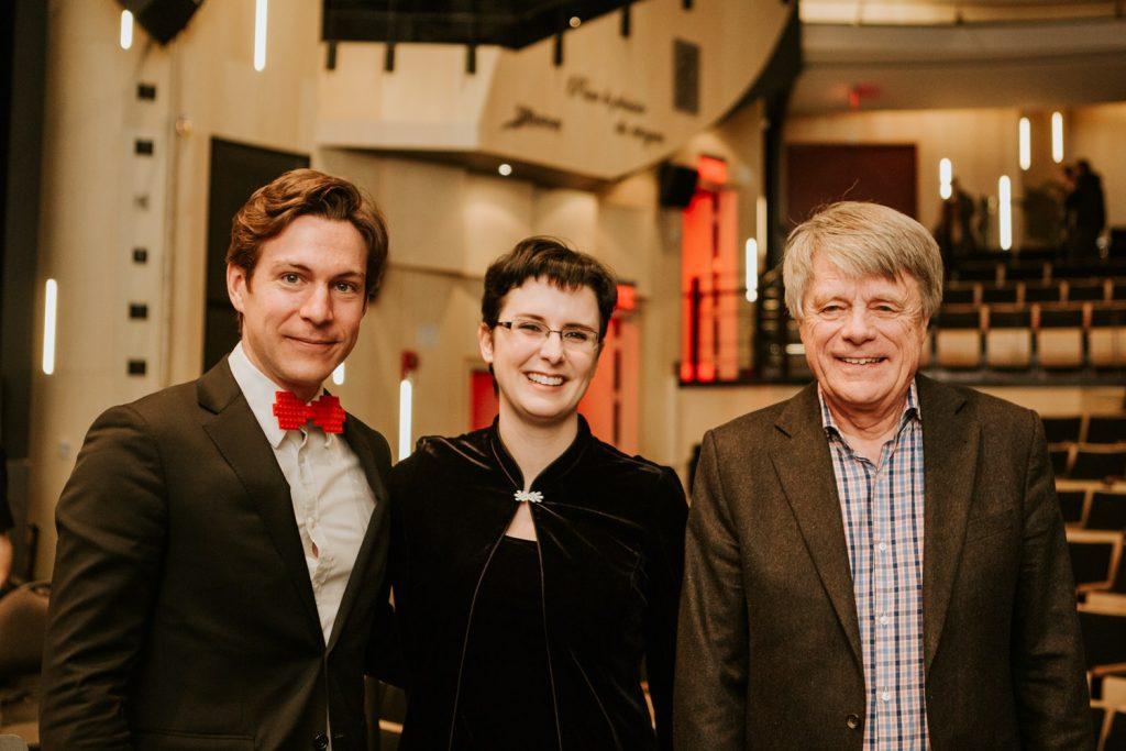 Maxime Goulet with the Orchestre Symphonique Du Saguenay Lac St-Jean and maestra Geneviève Leclair and maestro Jacques Clément, for the performance of his composition Symphonic Chocolates. Photo by Nadia Zheng, 2016