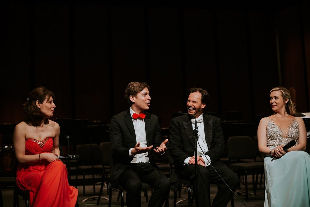 Maxime Goulet with violinist Irina Muresanu, maestro Roberto De Clara and soprano Clodagh Earls, for the performance of his composition Symphonic Chocolates by the the Oakville Symphony Orchestra. Photo by Nadia Zheng, 2016