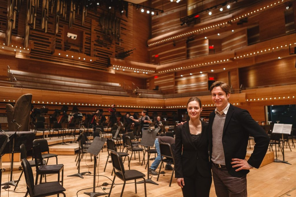 Maxime Goulet and Dina Gilbert after the performance of the Olympic ouverture Citius, altius, fortius! by the Montreal Symphony Orchestra, at the Maison symphonique, in Montreal, in 2015. Photo: Nadia Zheng