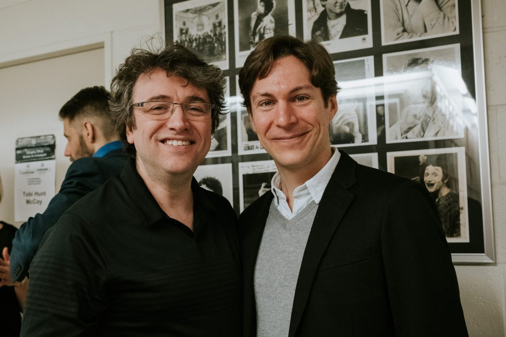 Maxime Goulet with Maestro Alain Trudel, for the performance of the olympic ouverture Citius, Altius, Fortius!, by the National Arts Centre Orchestra, in Ottawa, in 2017. Photo: Nadia Zheng