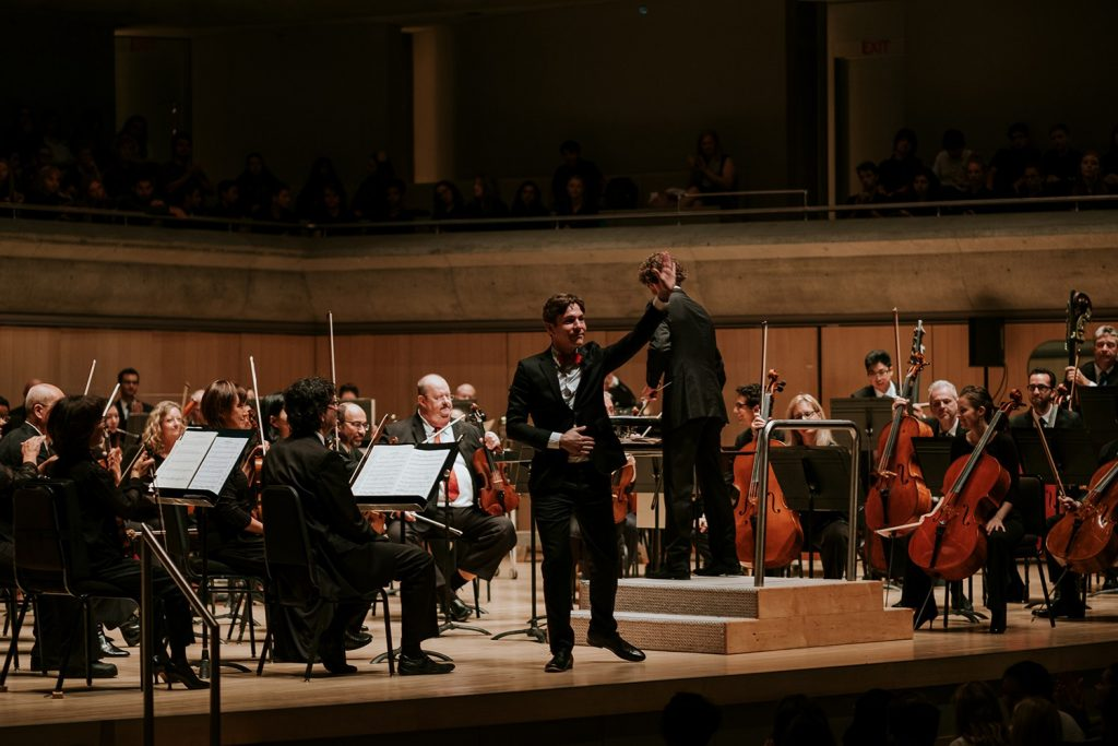 Maxime Goulet with maestro Lucas Waldin, for the performance of On Halloween Night, by the Toronto Symphony Orchestra, at the Roy Thomson Hall, in 2016. Photo by Nadia Zheng.